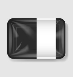 plastic tray container with cellophane cover vector image