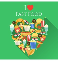 Poster with text I love fast food made in flat vector