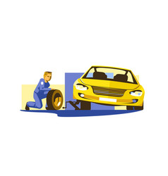 process replacing tires vector image