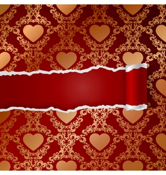 Ragged paper with pattern of hearts vector image