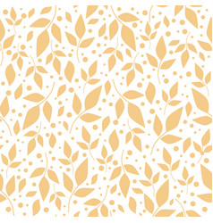 seamless pattern with orange leaves and dots vector image