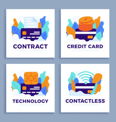 set credit card stock isolated on a white vector image
