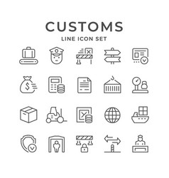 set line icons customs vector image