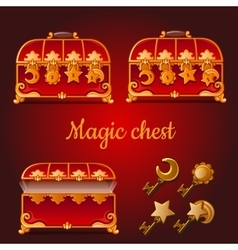 set magical red chests and golden keys vector image