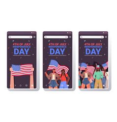 set mix race people holding usa flags celebrating vector image