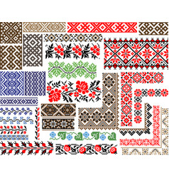 Set of 30 seamless ethnic patterns for embroidery vector