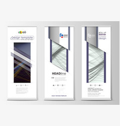 set of roll up banner stands geometric flat style vector image
