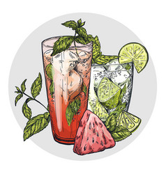 set of two mojito cocktails vector image