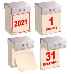 set tear off calendar 2021 isolated on white vector image