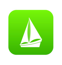 small yacht icon digital green vector image