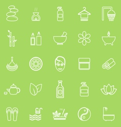 Spa line icons on green background vector