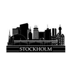 stockholm cityscape line art design black and vector image