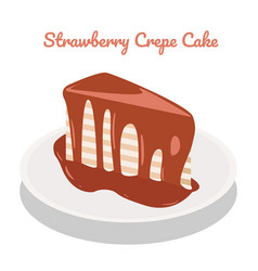 Strawberry crepe cake on plate on white vector