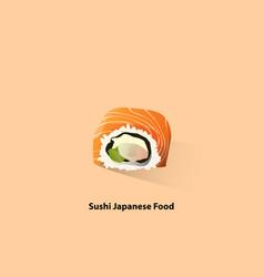 sushi on pastel orange vector image