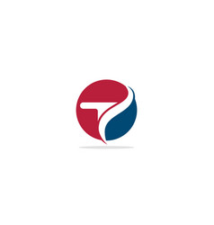 T initial round colored company logo vector