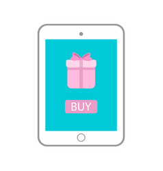 tablet with gift on monitor icon tab vector image
