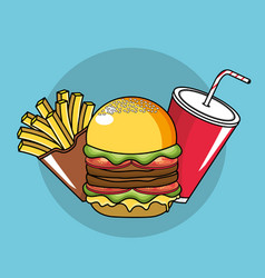 Tasty fries french hamburger and soda plastic cup vector