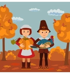 Thanksgiving day children pumpkin and turkey vector image