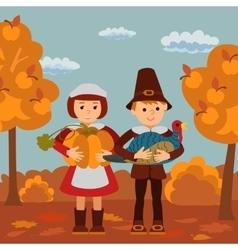 Thanksgiving day children pumpkin and turkey vector