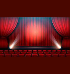 theater show stage interior with red curtain vector image