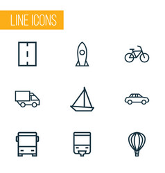 Transport icons line style set with way monorail vector