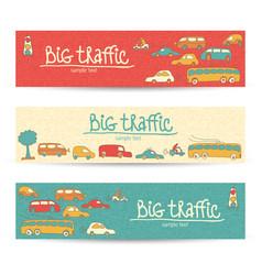 transportation doodle banner set vector image
