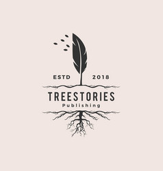 tree quill feather ink root logo vintage retro vector image