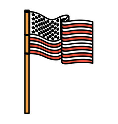 United states flag waving in pole color sections vector