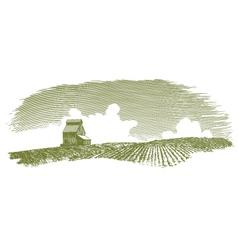 Vintage Grain Elevator Landscape vector