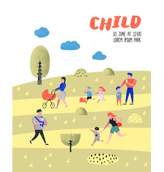 Walking family outdoor activity poster banner vector