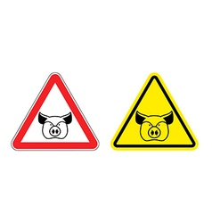Warning sign pork attention Dangers yellow sign vector image