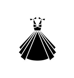wedding dress black icon sign on isolated vector image