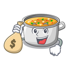 With money bag vegetable soup with pasta in pot vector