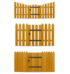 Wooden fence with wicket door vector