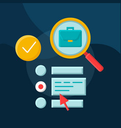 Work searching software flat concept icon vector