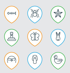 Zoology icons set includes icons such as goose vector
