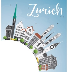 Zurich Skyline with Gray Buildings Blue Sky vector image