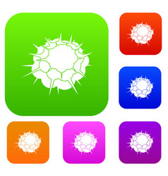 atomic explosion set color collection vector image