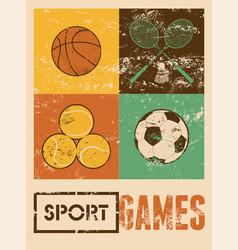 basketball badminton football tennis vector image