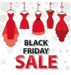Black friday SaleRed Party dresses snowflakes vector image vector image