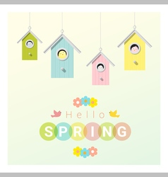 Hello spring background with little birds in vector image vector image