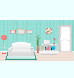 living room interior including furniture and door vector image vector image