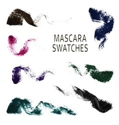 Set of 7 realistic mascara swatches vector image