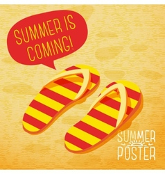 Cute summer poster - slippers on the beach with vector image