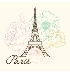 Eifel Tower Paris In Vintage Style With vector image vector image