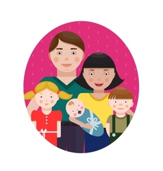 Happy Family Parents with Three Children Portrait vector image vector image