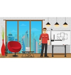 Man architect working with Blueprint at Office or vector image