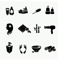 Spa doodle hand drawn sketch black icons set with vector