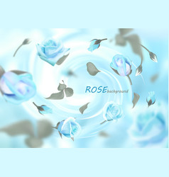 the buds of gently blue roses are flying in a vector image vector image