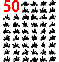 big collection of motorcyclist silhouettes vector image